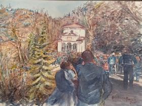 il popolo in cammino al sacromonte di Varese, X cappella, acquerello