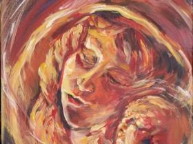 Maternità, 2016, 40x40, acrilico su tela