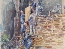 Catasta di legna per il falò di sant'Antonio alla Motta di Varese- 2016-acquerello-30x32