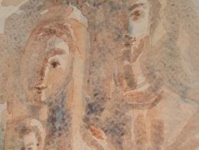 Sacra Famiglia, bozzetto, acquerello, 2016, 13x18_463x768