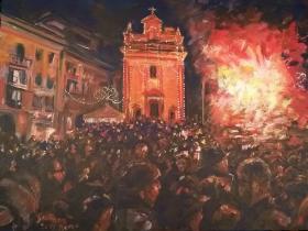 falò di Sant'Antonio alla Motta, Varese, 2017, acrilico su tela, 90x70